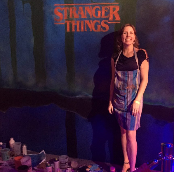 Stranger Things live painting for a Netflix event, by Angie Lister