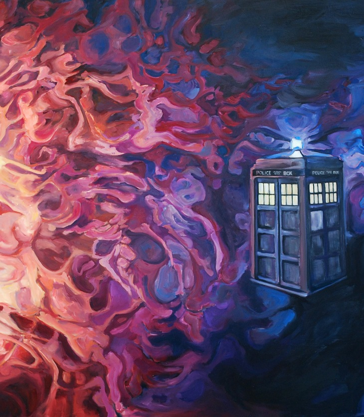 Doctor Who painting, titled The TARDIS and the time vortex, by Angie Lister